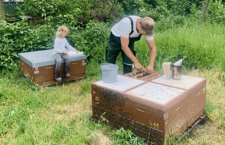 Bernhard Heuvel mit Tochter bei den Bienen